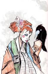 Self Portrait as Geisha + Bird by glittergodzilla