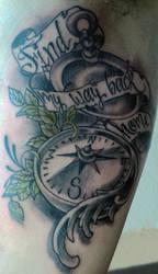 compass tattoo by mojoncio