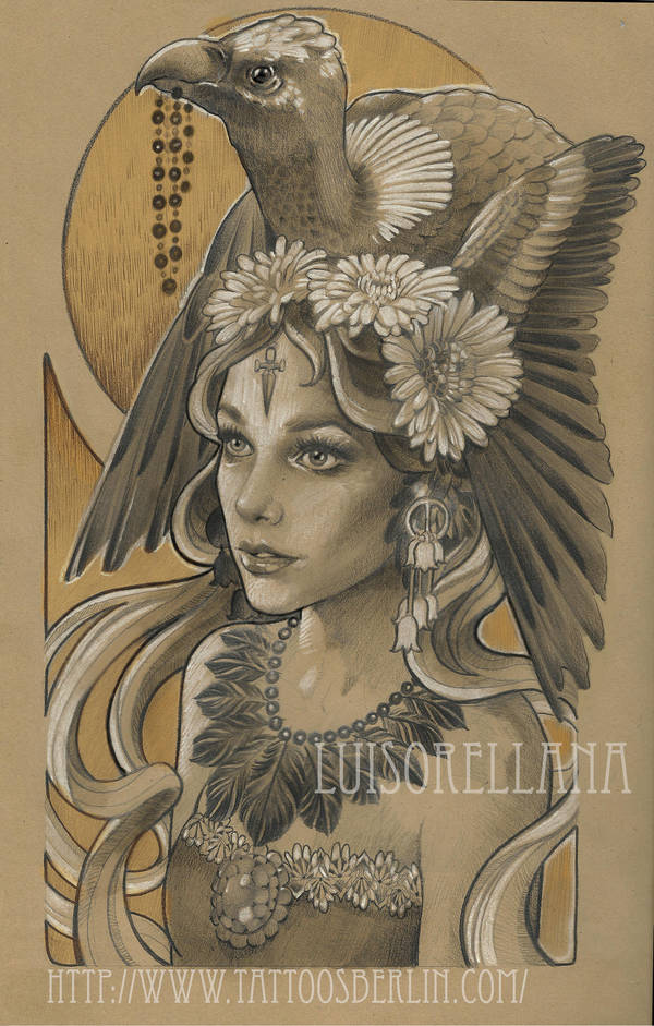 neo traditional girl by mojoncio