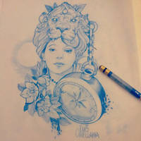 victorian girl tattoo sketch by mojoncio