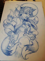 ahri tattoo sketch by mojoncio
