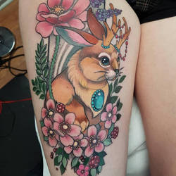 Jackalope tattoo by mojoncio