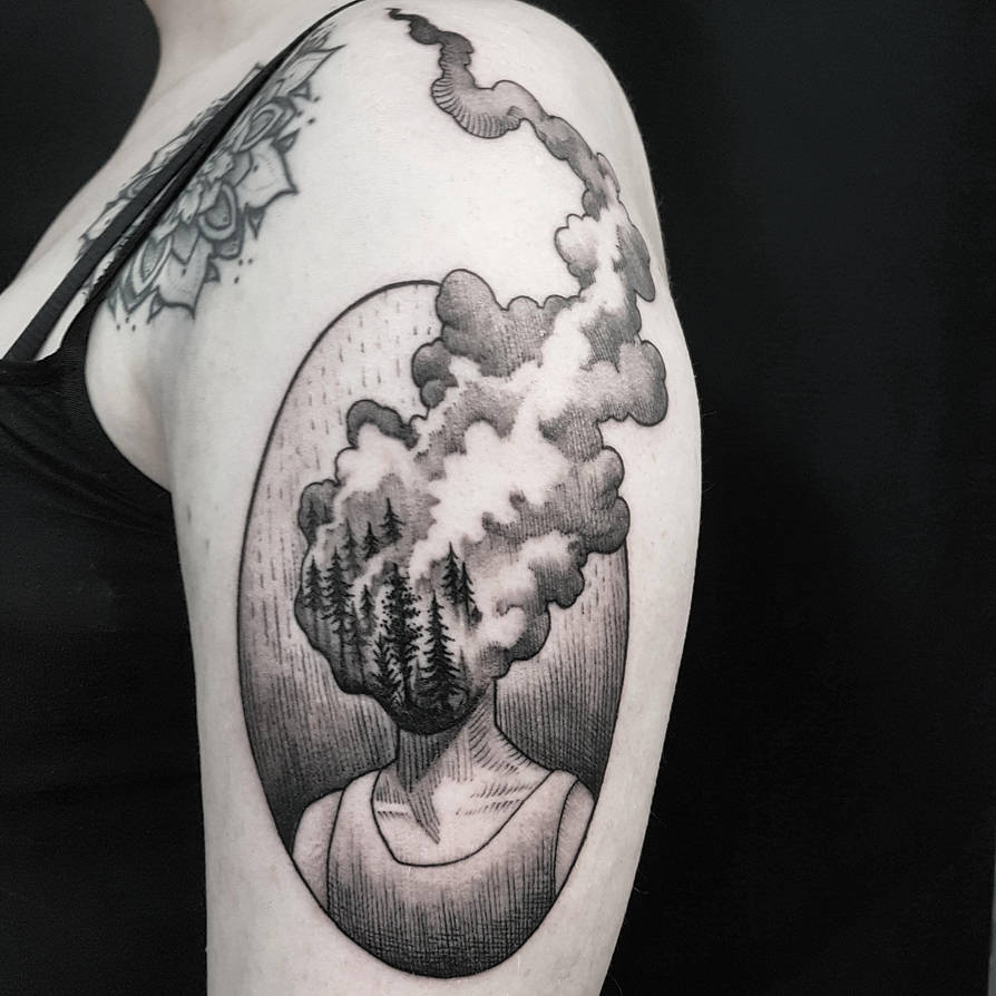 Burning forest head tattoo by mojoncio