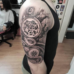 Watch compass tattoo by mojoncio