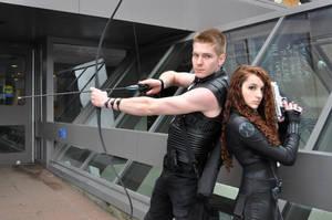 Black Widow and Hawkeye cosplay by Arorea