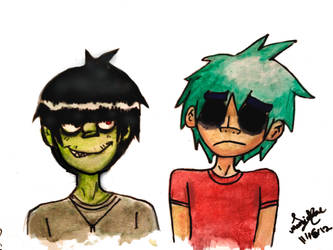Murdoc and 2D by Bubbi-Robot