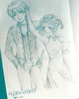 OkiKagu (Okita Sougo x Kagura Yato) Sketch by Ellioranthe