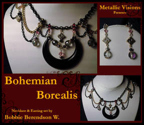 Bohemian Borealis necklace and earring set by MetallicVisions