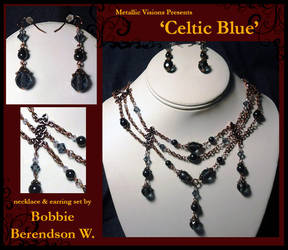 Celtic Blue necklace and earring set by MetallicVisions