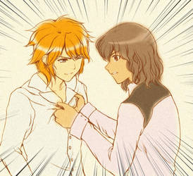 Amemiya and Shindou by saibanran