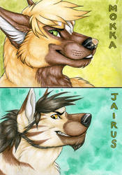 Jairus and Mokka Con Badges by Korrok