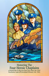 Honoring the 4 Chaplains - Stained Glass Design by theartyst