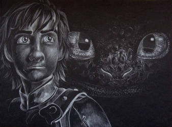 Hiccup and Toothless by avecmonpinceau