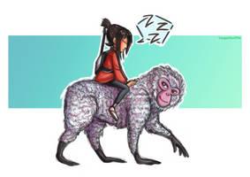 kubo and monkey by HayaMika