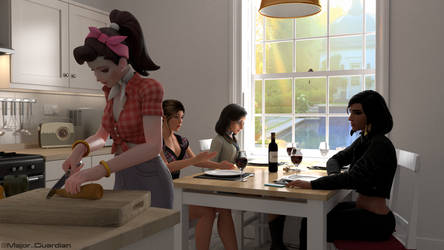 Good wine, great time ! - Lara Croft, Pharah, Dva by Major-Guardian