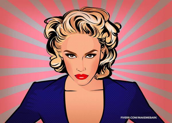 Gwen Stefani in Pop Art style  fan art by zummi