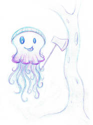 Superfast Lumberjack Jellyfish by toonishdreams