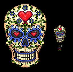 Pixel Sugar Skull by Imkihca