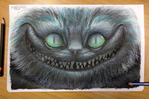 Color pencil drawing of Cheshire by AtomiccircuS