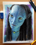 Neytiri Color Pencil Drawing by AtomiccircuS
