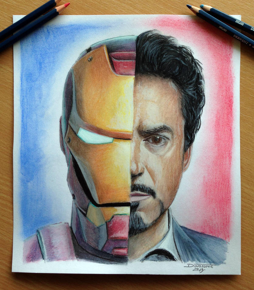 Iron man tony stark color pencil drawing by atomiccircus
