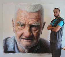 Mixed media portrait of my Grandfather by AtomiccircuS