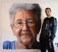 Mixed media portrait of my Grandmother by AtomiccircuS