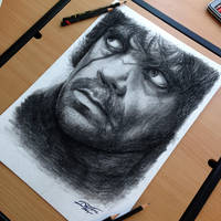 Tyrion Lannister charcoal pencil drawing by AtomiccircuS