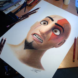 Dinsey Kratos Color Pencil Drawing by AtomiccircuS