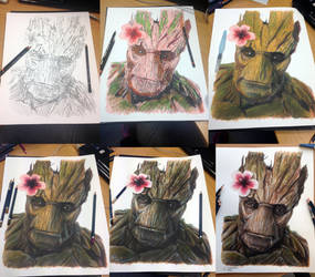 Groot drawing step by step by AtomiccircuS