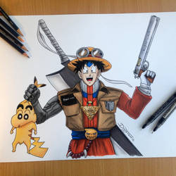 17 Animes Combined into one Pencil Drawing by AtomiccircuS