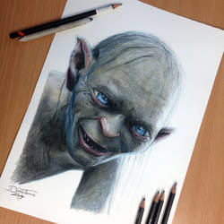 Gollum Pencil Drawing by AtomiccircuS