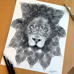 Ornament Lion Pencil Drawing by AtomiccircuS