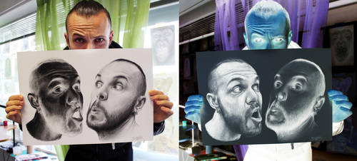 Inverted Self Portrait Drawings by AtomiccircuS