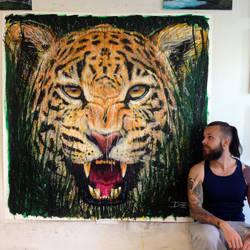 Jaguar Large Splatter Painting by AtomiccircuS