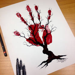 Tree of Nerves Pen Drawing by AtomiccircuS