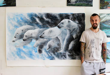 Large Polar Bears Painting by AtomiccircuS