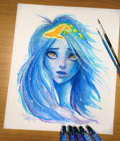 Blue Girl water painting by AtomiccircuS