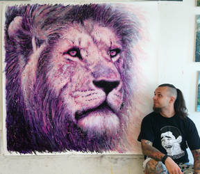 Large Lion Splatter Painting by AtomiccircuS
