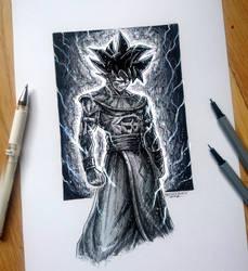 Songoku GOD Pen Drawing by AtomiccircuS