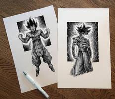 Songoku and Vegeta GOD Pen Drawing by AtomiccircuS