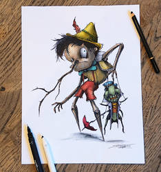Creepyfied Pinocchio Drawing by AtomiccircuS