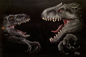 The Indos of Jurassic World  Indoraptor and I Rex by Israel-C
