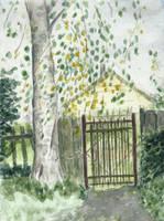 Birch and garden gate by tulvit