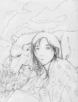 Native American Girl and Wolf by kazeshin