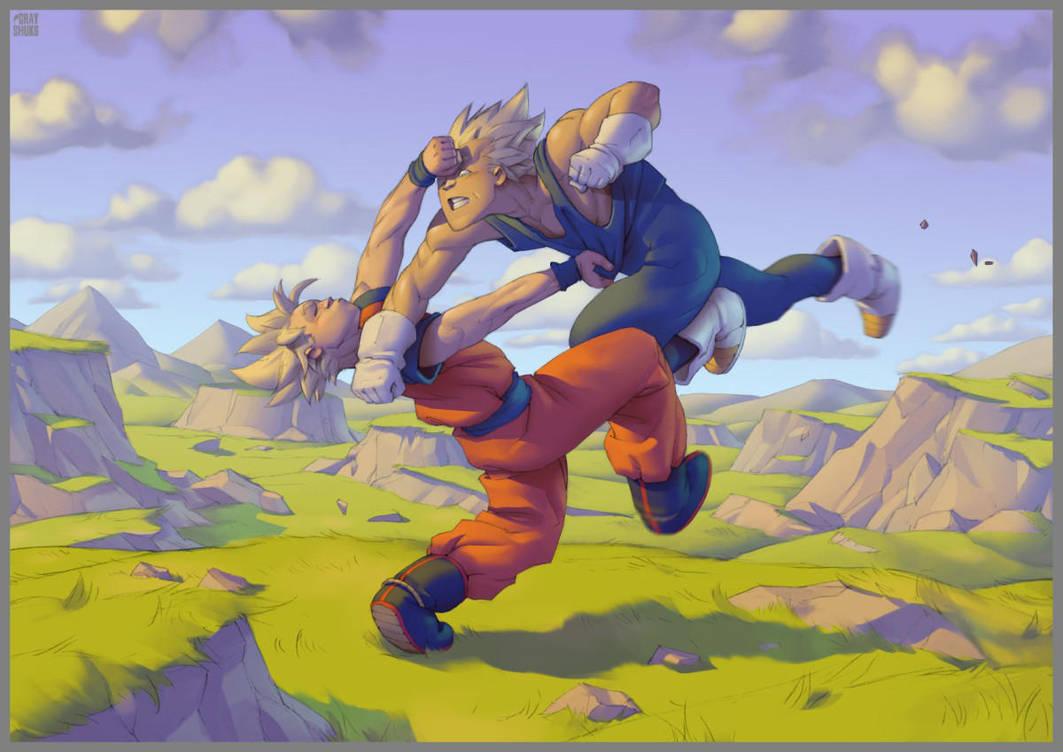 Goku vs Vegeta (2008) by GrayShuko