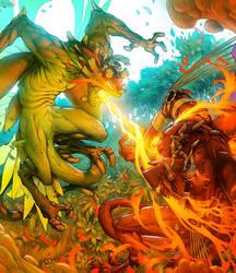Drakerz Meleons fight by GrayShuko