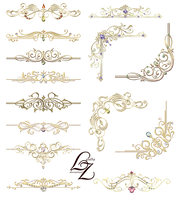 Gold Ornaments Design Elements 02 by Lyotta by Lyotta