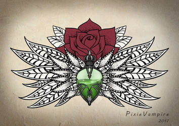Mandala poison bottle rose Tattoo stencil by Pixie-Vampire