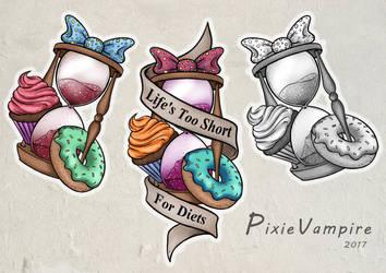 Cute hourglass tattoo stencil by Pixie-Vampire